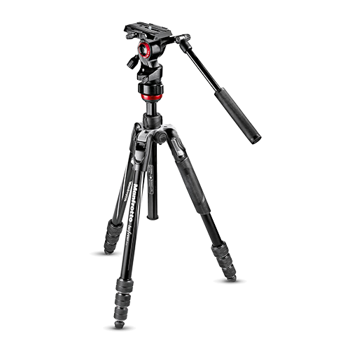 Black Manfrotto BeFree Live video travel tripod with twist lock legs and fluid head