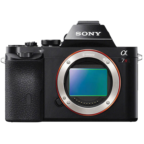 Image of Sony Alpha full frame mirrorless camera. Model A7R