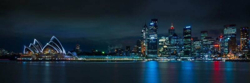 Panoramic shot of Sydney Harbour waterfront at night