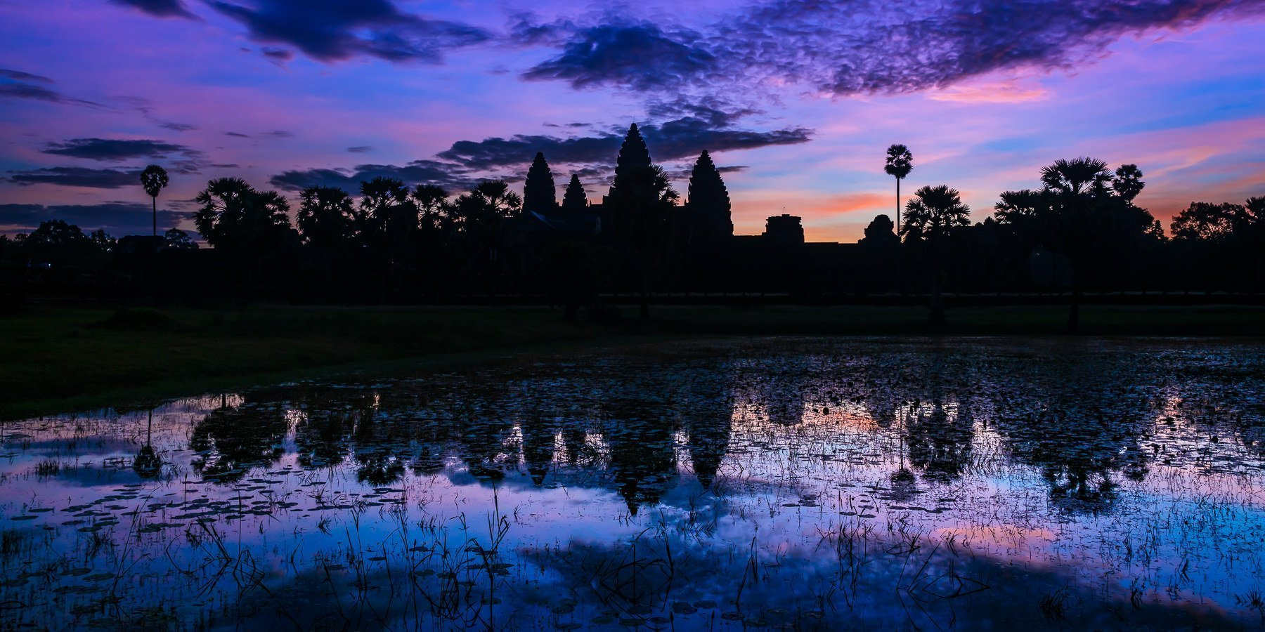 Silhouette of the Temples of Angkor Wat at sunrise with deep blue tones in the sky with hints of pink in the clouds