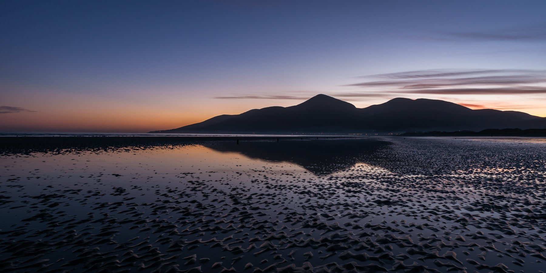 Mourne Mountains sweeping down to the see at sunset