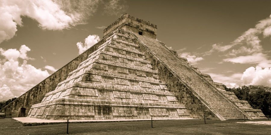 Sepia tone image of Mayan pyramid in Mexico