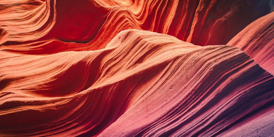 Detail shot of the amazing rock walls of Antelope Canyon, Utah