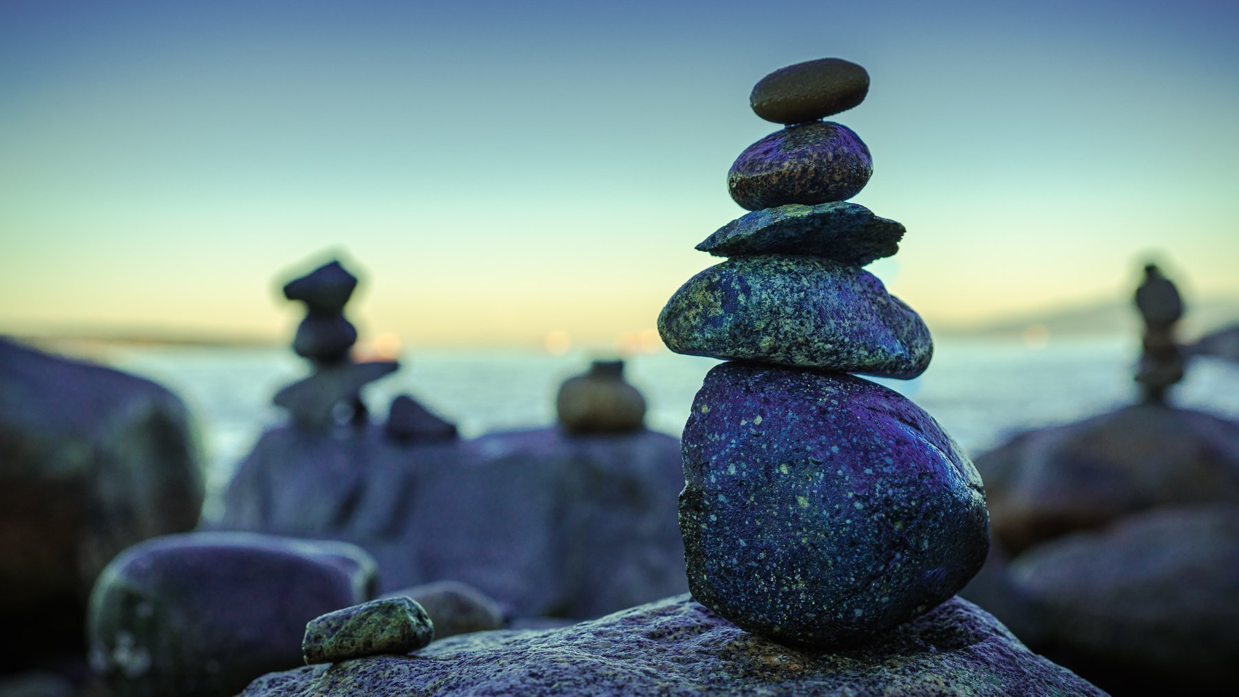 Five rocks balanced on top of each other